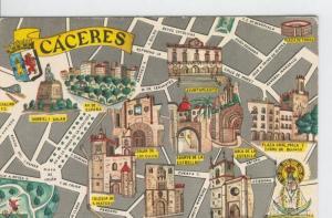 Postal 6636 : Plano ciudad y monumentos de Caceres