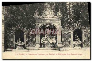 Old Postcard Nancy Fountain of Neptune by Guibal and grilles Jean Lamour