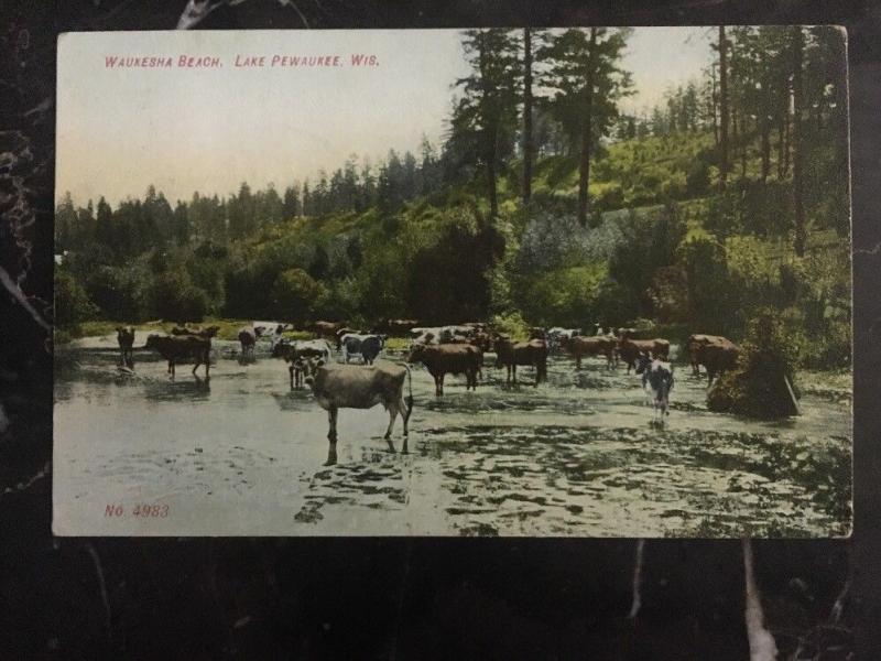 1908 US Postcard Waukesha Beach Lake Pewaukee Wi To Cedarburg