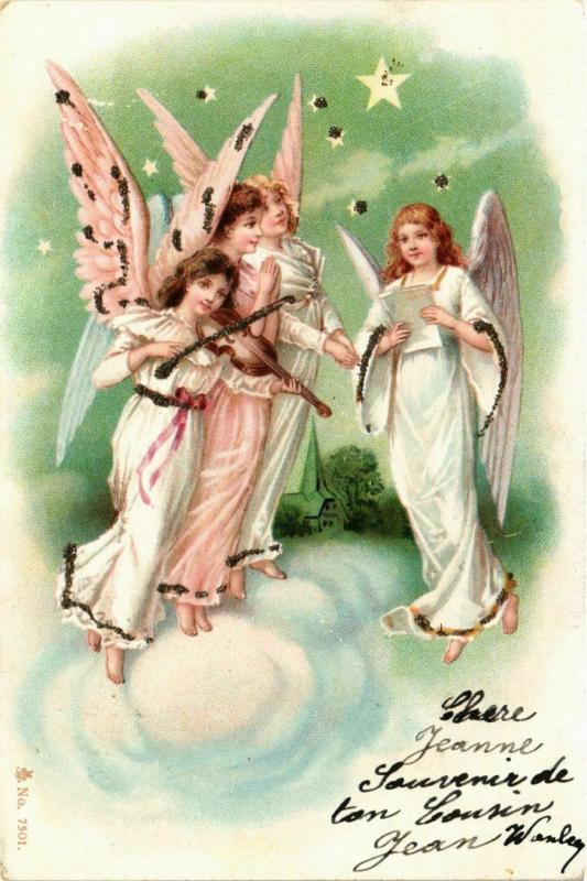 CPA Angels Singing and Playing on a Violin ANGELS (777514)