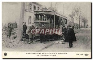 Old Postcard Explosion of Saint Denis March 4th, 1916 A ripped tram (fire pol...