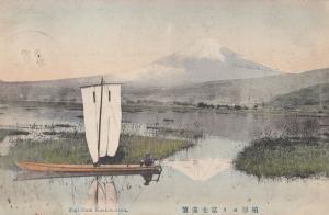 Fuji From Kashiwabara Sailing Boat Antique Japanese Advertising Postcard