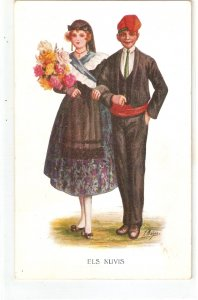 J. Ibañez. The Newly-wed. Els Nuvis Nice Spanish postcard 1920s