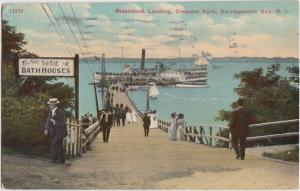 SHIP Postcard 1910 NARRAGANSETT BAY Steamboat Landing Crescent Park 18