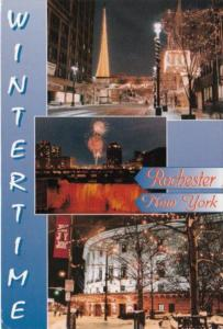New York Rochester Wintertime Main Street High Falls & Eastman Theatre