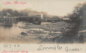 LP56 Newport Maine Upper Bridge    RPPC Postcard