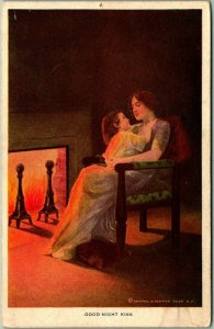 Vintage 1910s Greetings Postcard Mother & Daughter / Fireside GOOD NIGHT KISS