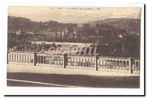 Pau Old Postcard The chain of Pyrenees