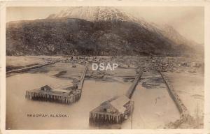 B92/ Skagway Alaska AK Real Photo RPPC Postcard 1914 Birdseye View Homes Dock