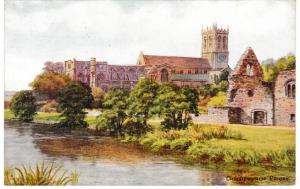 Post Card Dorset CHRISTCHURCH PRIORY Salmon Series