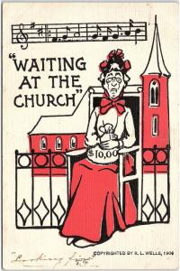 Postcard R.L. Wells Waiting At The Church Artist Signed 1907 UDB U8