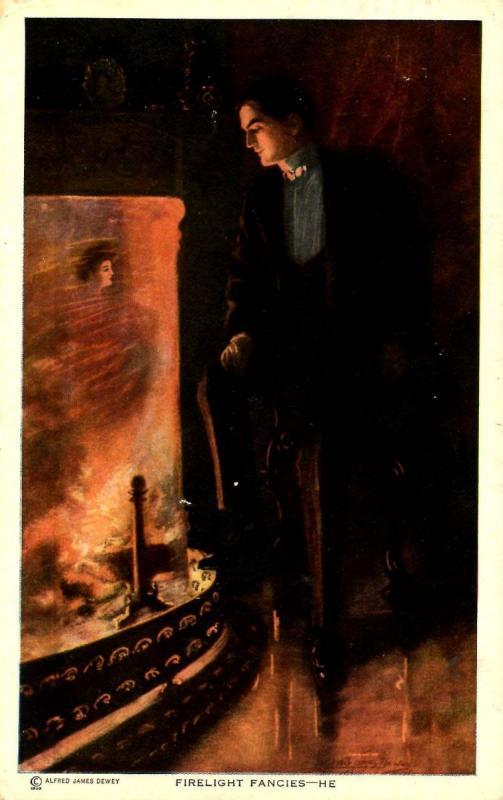 Firelight Fancies - He.  Artist Signed: Alfred James Dewey