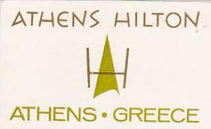 GREECE ATHENS HILTON HOTEL VINTAGE LUGGAGE LABEL