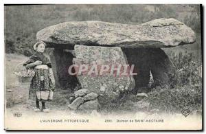 Postcard Old Megalith Dolmen St Nectaire Children