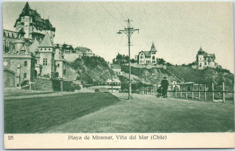 Vina Del Mar, CHILE Postcard Playa de Miramar Road / Houses View c1910s Unused