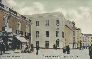 Papelaria Travassos: A Street at Ponta Delgada, Azores, early postcard, unused