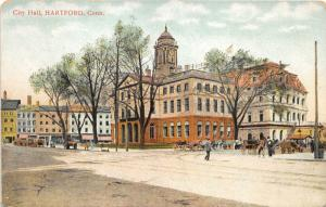 Hartford Connecticut~Street Scene~City Hall~Man in Street~Bicycle~Carriages~1910