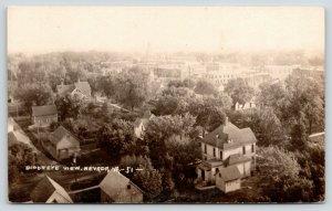 Nevada IA Birdseye View~Big Home w/Shed Outbuilding~Downtown~RPPC c1914 Postcard