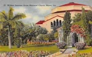 William Jennings Bryan Memorial Church Miami, Florida Postcard