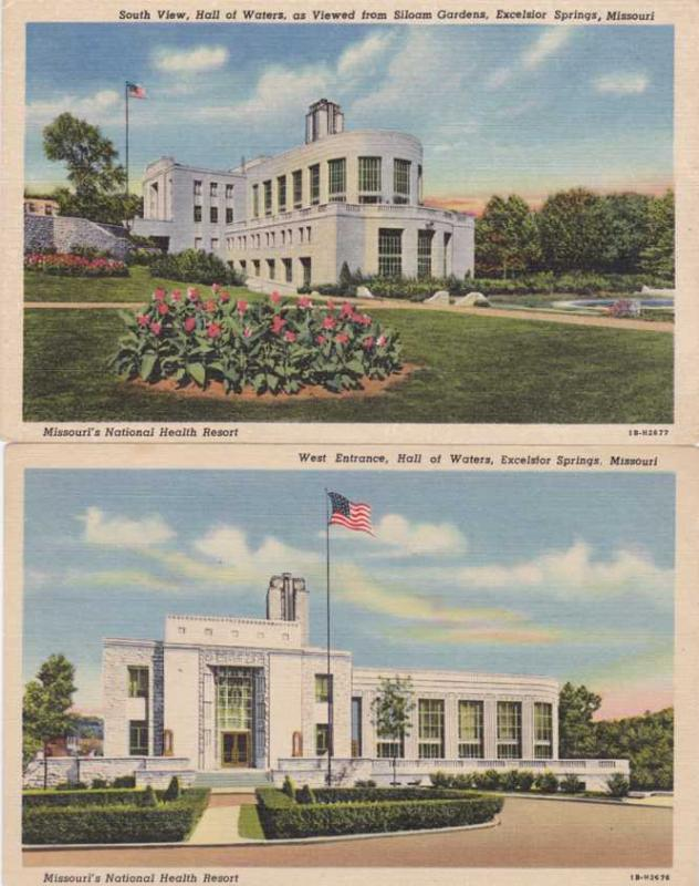 (2 cards) The Hall of Waters - Excelsior Springs MO, Missouri - Linen