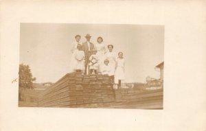 F82/ Occupational RPPC Postcard c1910 Lumber Yard Sawmill Family 20