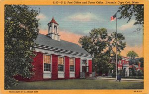 U.S. Post Office and Town Office, Hyannis, Cape Cod, MA,  Early Postcard, Unused