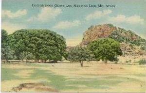 Fort Davis, Texas, 30-40s, Cottonwood Grove & Sleeping Lion Mountain