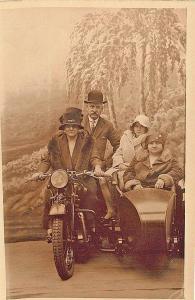 UK Grandma & Family Motorcycle w/sidecar RPPC Postcard