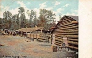MAINE LOGGING CAMP-1900s POSTCARD