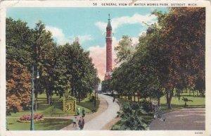 Michigan Detroit General View Ct Water Works Park 1933