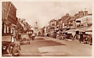 LYMINGTON HAMPSHIRE UK~HIGH STREET & PARISH CHURCH-PHOTO POSTCARD 1930s