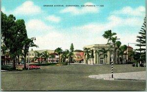 1940s Coronado, California Postcard ORANGE AVENUE Downtown Street View Linen