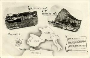 Gibraltar, Rock from Bay, Airfield, Map Postcard (1958) RPPC