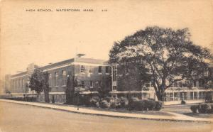 Watertown MA Awesome Tree by Art Deco High School 1940s B&W Litho Postcard