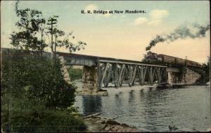 RR Train Bridge at New Meadows Brunswick ME c1910 Postcard