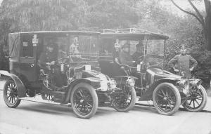 Real Photo Postcard~Chauffeurs in Vintage Autos Side by Side~c1907 UK~France? RP