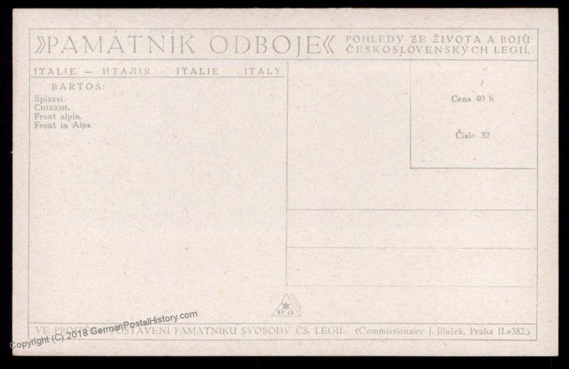 Czech Legion in Italy WWI Soldier Artwork Patriotic Card 90297
