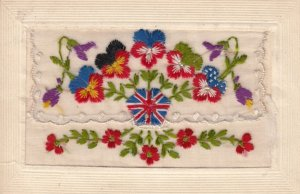 Embroidered 1914-18 ; Uk Flag & Allied Flowers