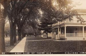 Villisca Iowa~East Side 3rd Avenue~Victorian Lady on Sidewalk~c1910 RPPC