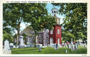 Delaware Postcard Wilmington Old Swedes Church Graveyard Cemetery Linen AA