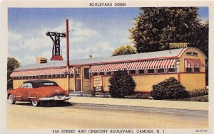 H64/ Camden New Jersey Postcard Chrome Boulevard Diner Restaurant
