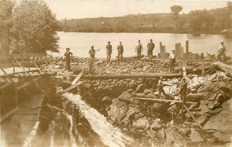 c1910 Occupation Worker Dam Building Rocks Lake RPPC Real Photo