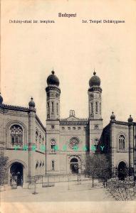 1910 Judaica Postcard: Dohány Street Synagogue in Budapest