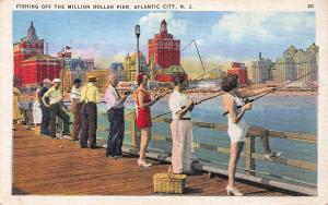 Fishing Off the Million Dollar Pier, Atlantic City, N.J., Early Postcard, Unused