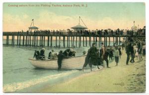 Fishing Boat Landing Beach Asbury Park New Jersey 1910c postcard