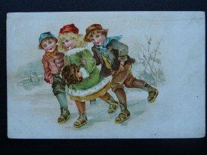 Christmas Greeting CHILDREN ICE SKATING Wintery Scene c1902 UB Postcard