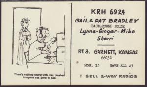 KRH-6924 Bradley Garnett,KS QSL Card