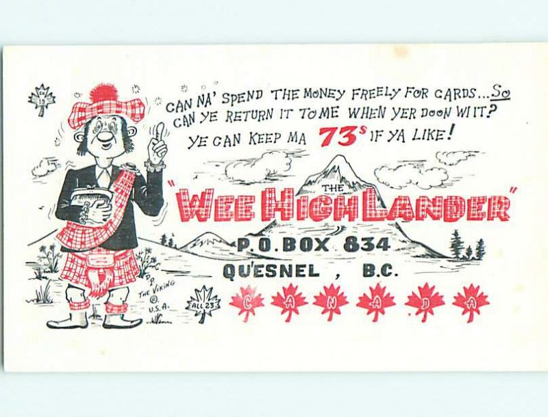 comic - QSL HAM RADIO CARD in Quesnel British Columbia BC Canada t0746