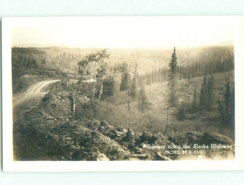 Pre-1949 rppc SCENERY ALONG ALASKA HIGHWAY Province Of British Columbia BC W1044