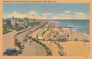 Bathing Beach and Boardwalk Looking East Cape May NJ New Jersey pm 1952 - Linen
